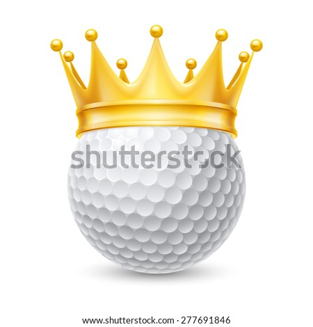 Raster version. Golden crown on the golf ball isolated on white
