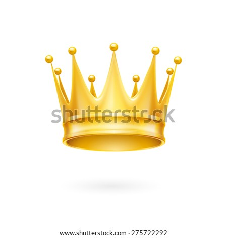 Raster version. Golden crown royal attribute isolated on a white background