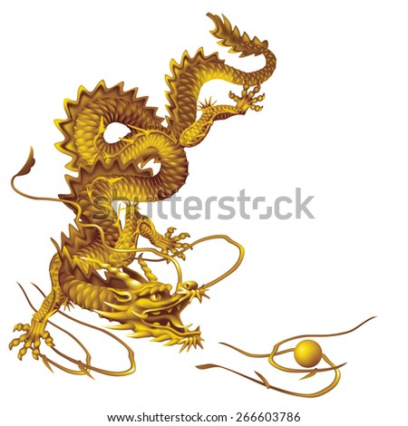 Raster version / Golden Dragon running vertically down on a white background - stock photo