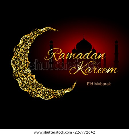 Raster version. Golden ornate crescent with mosque on black and red background.  Greeting card of holy Muslim month Ramadan  - stock photo