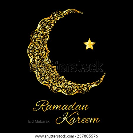 Raster version. Golden ornate crescent with star on  black background.  Greeting card of holy Muslim month Ramadan  - stock photo