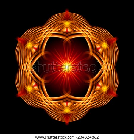 Raster version. Golden shiny glossy flame ornate decorative floral pattern with image of the sun in the center on the black background. Six patterns in different directions.  - stock photo