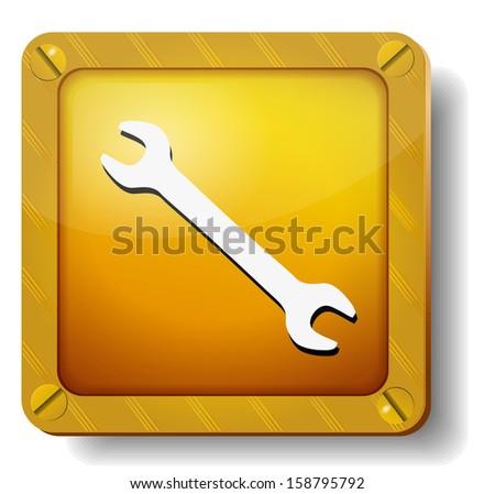 raster version golden wrench icon - stock photo