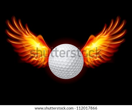Raster version. Golf-Fiery wings, a color illustration on a black background - stock photo
