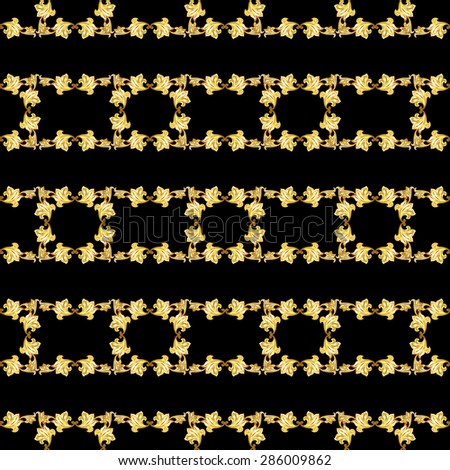 Raster version. Gorizontal seamless gold floral patterns on black background  - stock photo
