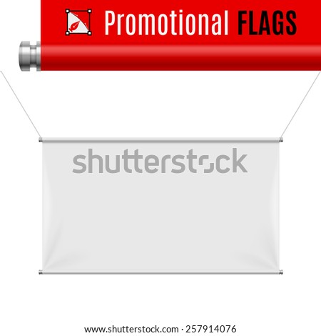 Raster version. Gorizontal white promotional flag hanging on threads on a gray background