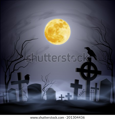 Raster version. Graveyard at the night. Yellow moon. Headstone. Fog.