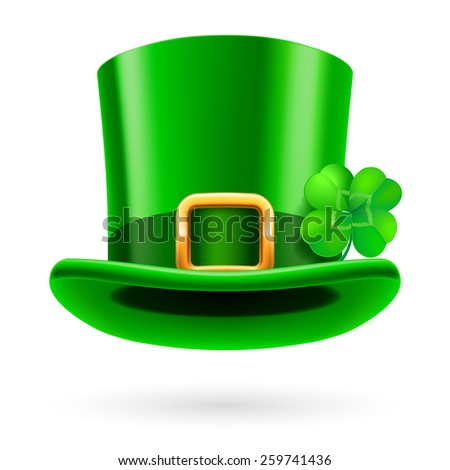 Raster version. Green tall hat in St. Patrick Day on a white background