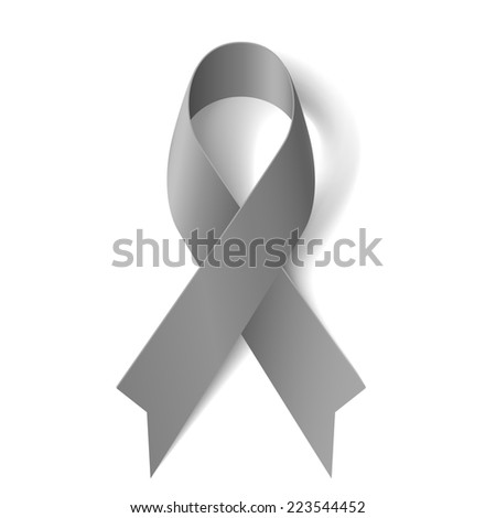 Raster version. Grey ribbon as symbol of borderline personality disorder, diabetes, asthma and brain cancer awareness  - stock photo