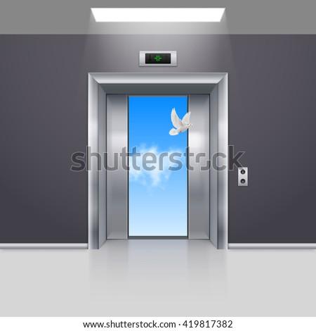 Raster version. Half Open Chrome Metal Elevator Door and White Dove - stock photo