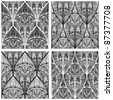 raster version, hand drawn seamless eastern floral patterns, monochrome - stock photo