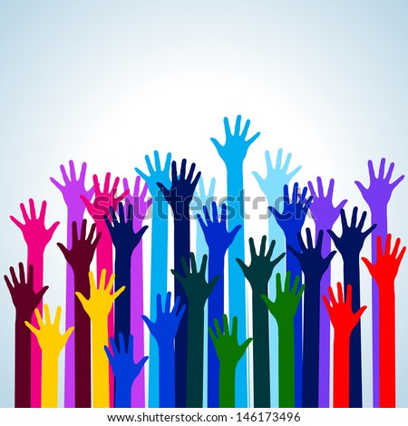 Raster version. Hands in colors. Illustration on blue background for design - stock photo