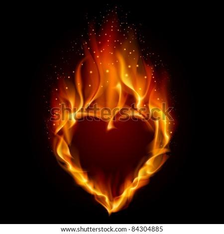 Raster version. Heart in Fire. Illustration on black background for design - stock photo
