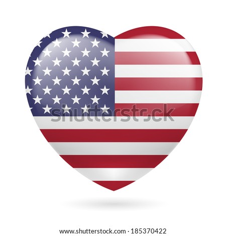 Raster version. Heart with American flag colors. I love USA - stock photo