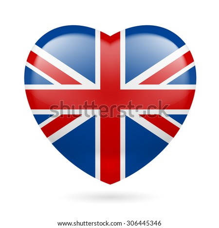 Raster version. Heart with British flag colors. I love United Kingdom - stock photo