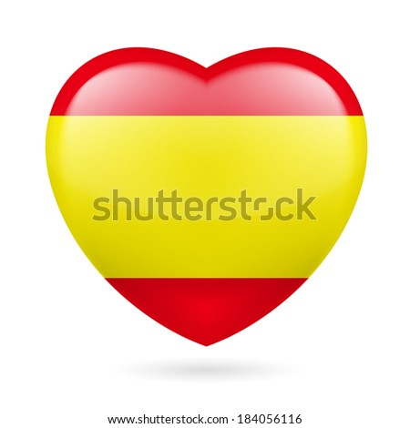 Raster version. Heart with Spanish flag colors. I love Spain - stock photo
