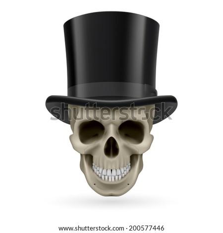 Raster version. Human skull wearing a black top hat. - stock photo