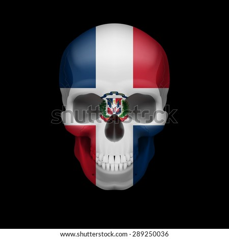 Raster version. Human skull with flag of Dominican Republic. Threat to national security, war or dying out  - stock photo