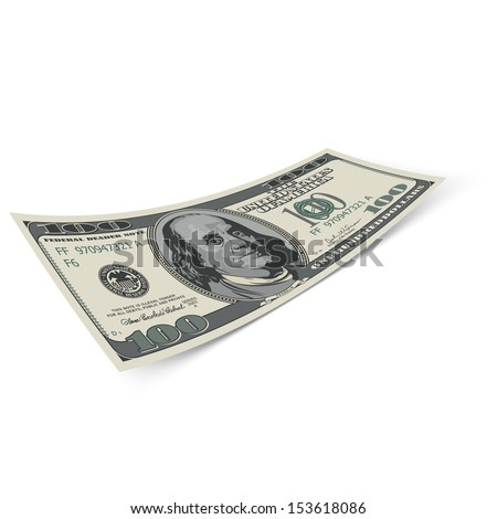 Raster version. Hundred dollar banknote on white background. Money and banking. - stock photo