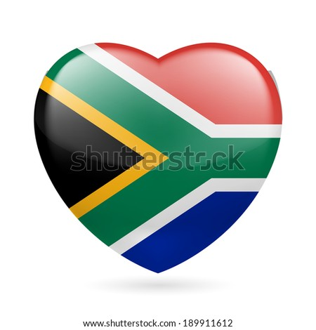 Raster version. I love South Africa. Heart with flag colors