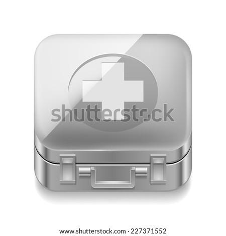 Raster version. Icon of metal first-aid kit on white background  - stock photo