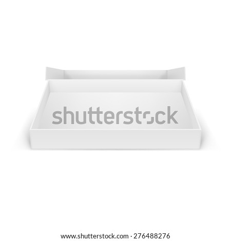 Raster version. Illustraion of open white cardboard boxes, isolated for creative design