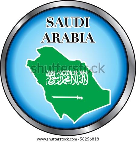 Raster version Illustration for Saudi Arabia, Round Button. Used Didot font. - stock photo