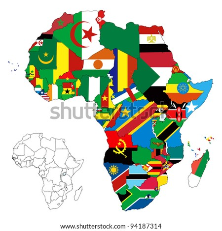 Raster version illustration for the continent of Africa. Over 50 countries including several small islands, rivers and lakes not visible unless zoomed in. Very editable if needed. - stock photo