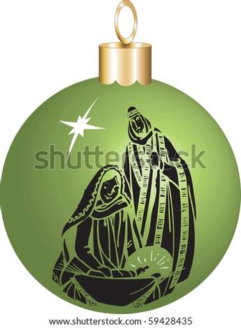 Raster version Illustration Nativity Christmas Ornament with baby Jesus, Mary and Joseph. - stock photo