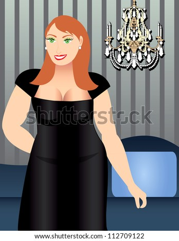 Raster version Illustration of a Heavy Set Woman in Formal dress.