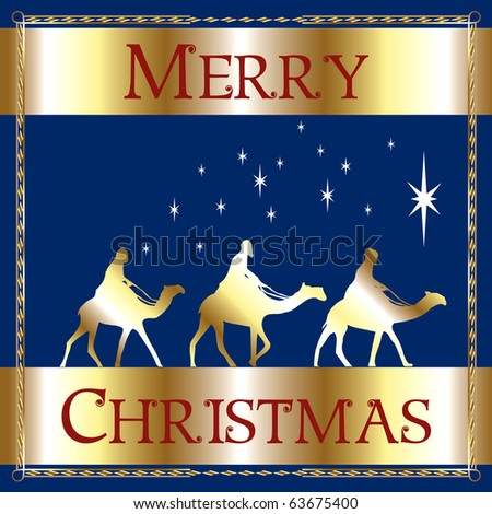 Raster version Illustration of a Merry Christmas Blue Wisemen. - stock photo