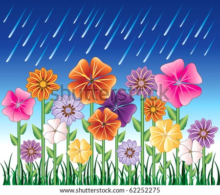 Raster version illustration of a Spring Day 2 with Rain and Flower Garden with grass. - stock photo