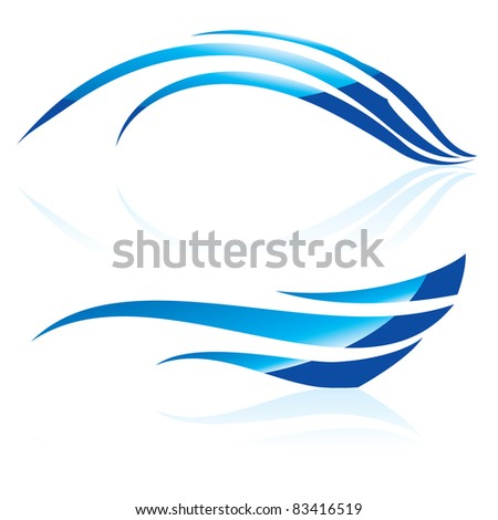 Raster version.  illustration of abstract blue waves on white background #2 - stock photo