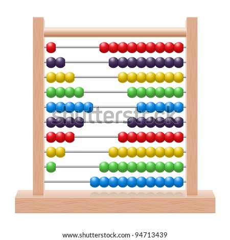Raster version. Illustration of an abacus with rainbow colored beads