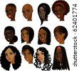 Raster version Illustration of Black Women Faces. Great for avatars, makeup, skin tones or hair styles of African women. - stock photo