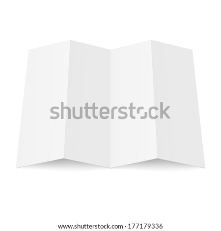 Raster version. Illustration of blank fourfold booklet on white background - stock photo