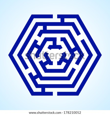 Raster version. Illustration of blue labyrinth in hexagon shape on light blue background - stock photo