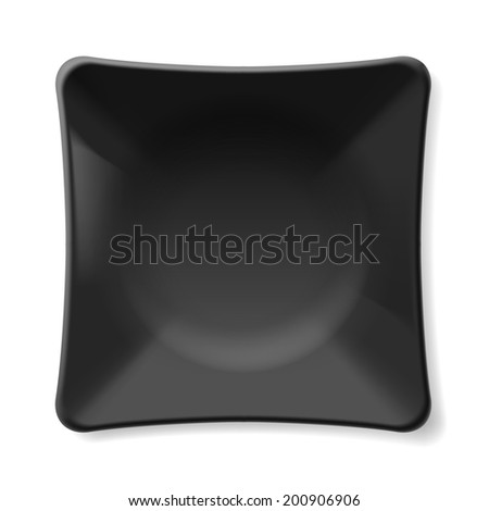 Raster version. Illustration of empty black plate isolated on white background