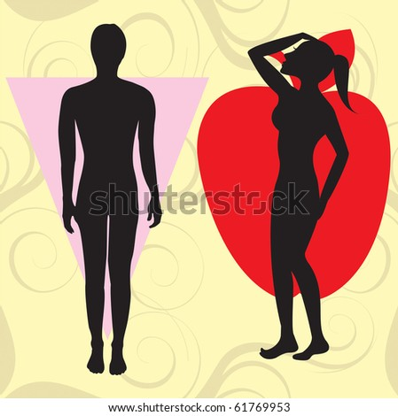 Raster version Illustration of female body shape apple also known as cone. Shape with wider upper body and narrow hips. - stock photo