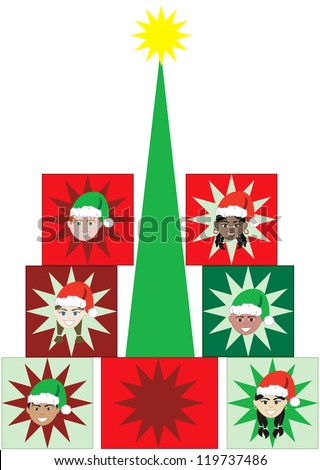 Raster version Illustration of 6 kids faces in a Present Christmas Tree. - stock photo