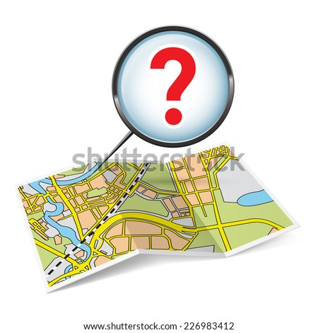 Raster version. Illustration of map booklet with question mark on white background  - stock photo