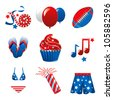 Raster version Illustration of nine icons for the 4th of July Independence Celebration. - stock photo