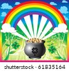 Raster version Illustration of pot of gold rainbow with a colorful background and a place for text or imagery. - stock vector