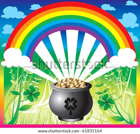Raster version Illustration of pot of gold rainbow with a colorful background and a place for text or imagery. - stock photo
