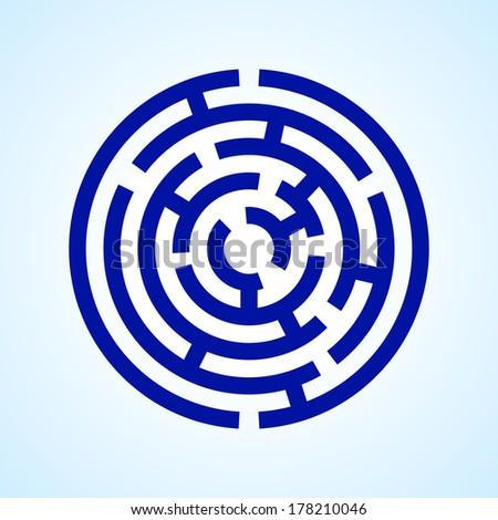 Raster version. Illustration of round blue  labyrinth on light blue background - stock photo