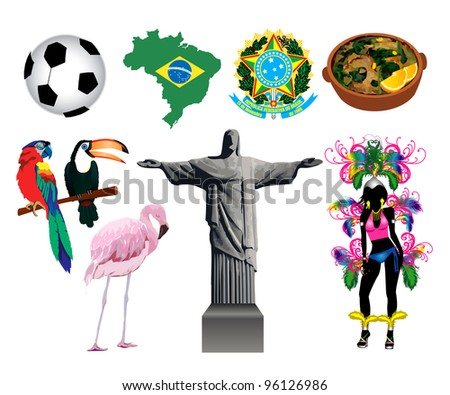 Raster version Illustration of several Brazilian icons and symbols. - stock photo