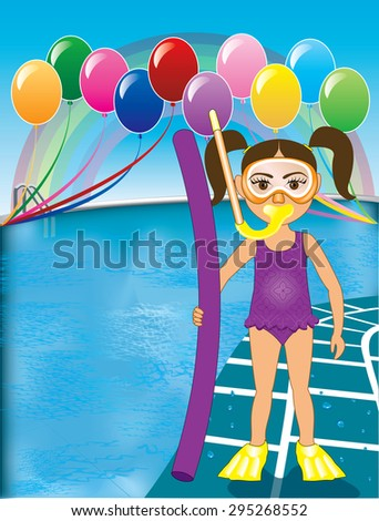 Raster version Illustration of Snorkel Girl at pool party with balloons. See many other variations. - stock photo