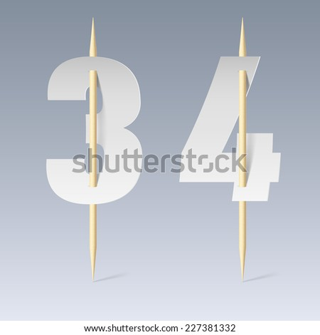 Raster version. Illustration of white paper cut font on toothpicks on grey background. 3 and 4 numerals  - stock photo