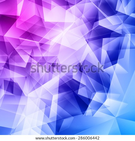 Raster version. Iridescent blue purple and pink background seamless pattern of polygonal  - stock photo