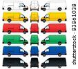 Raster version. Isolated Delivery Vans on white background.  illustration - stock photo